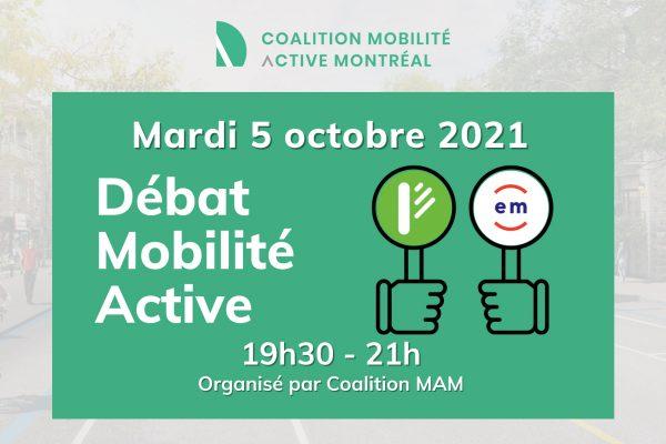Débat mobilité active - élection municipale 2021 Montréal